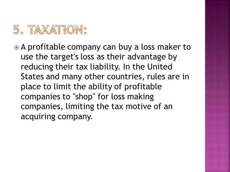 5. Taxation: