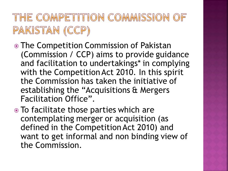 The Competition Commission of Pakistan (CCP)