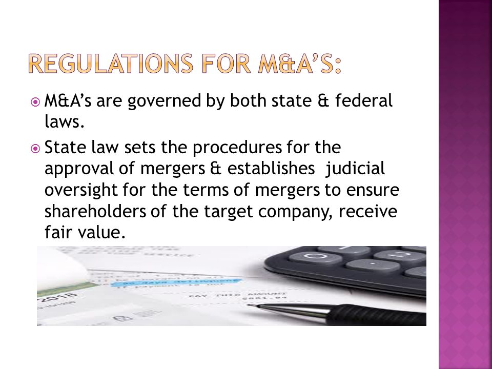 Regulations for M&A's: