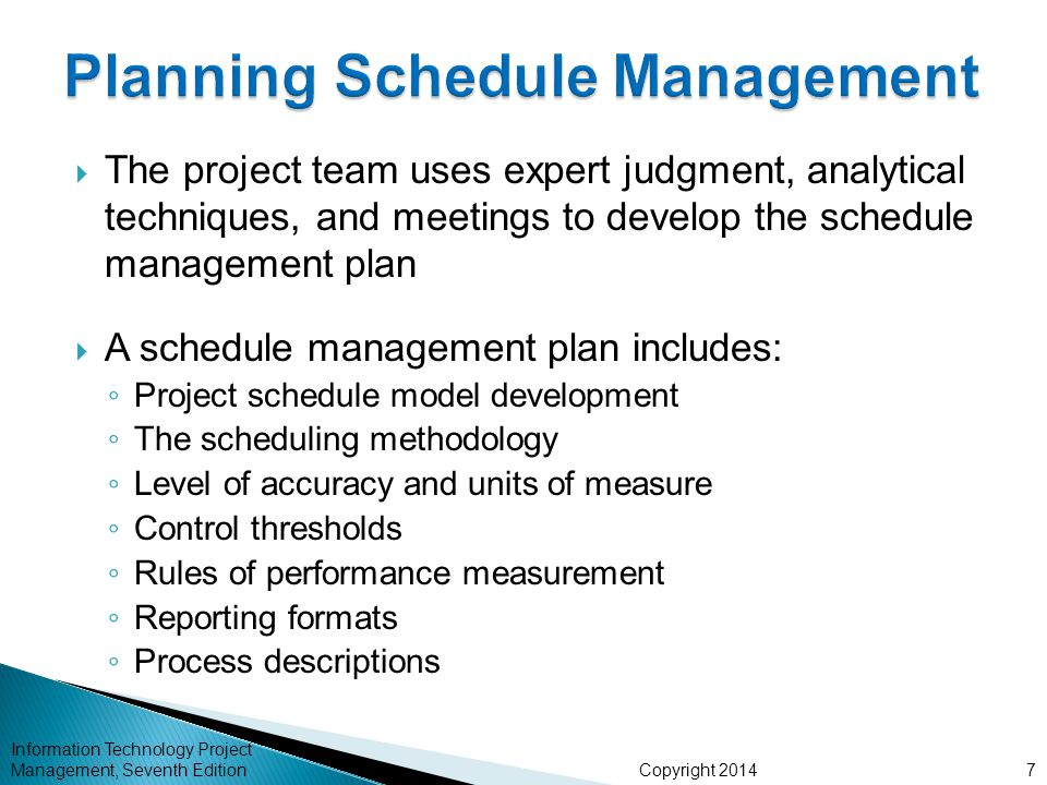Planning Schedule Management