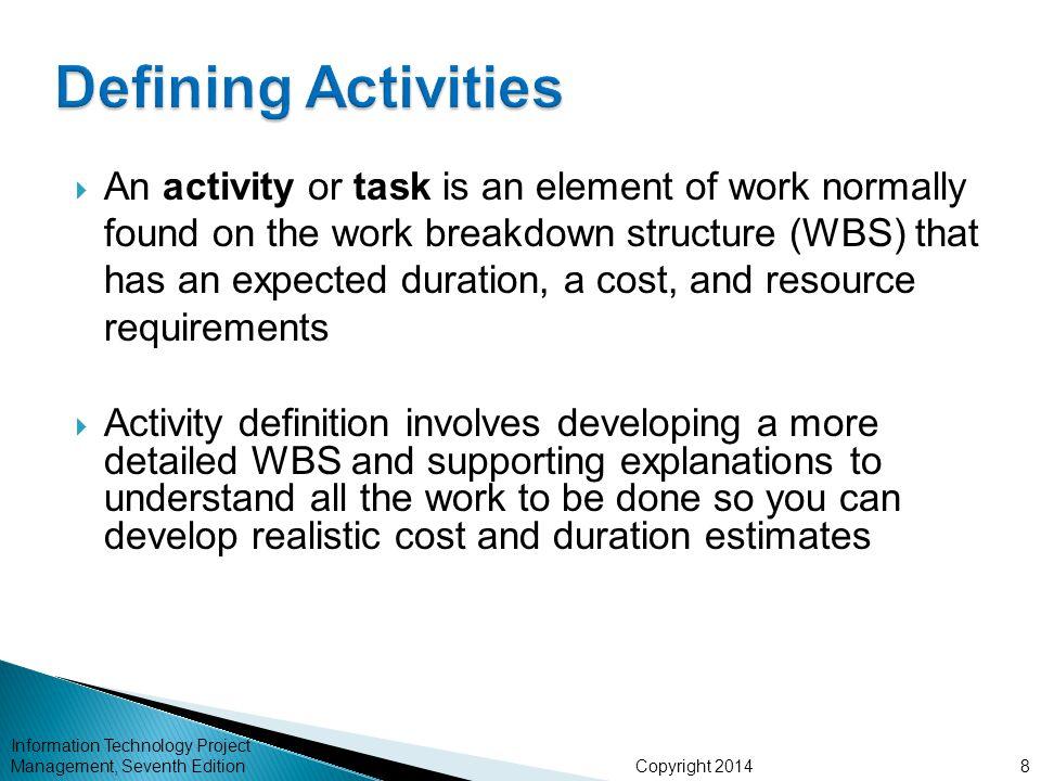 Defining Activities