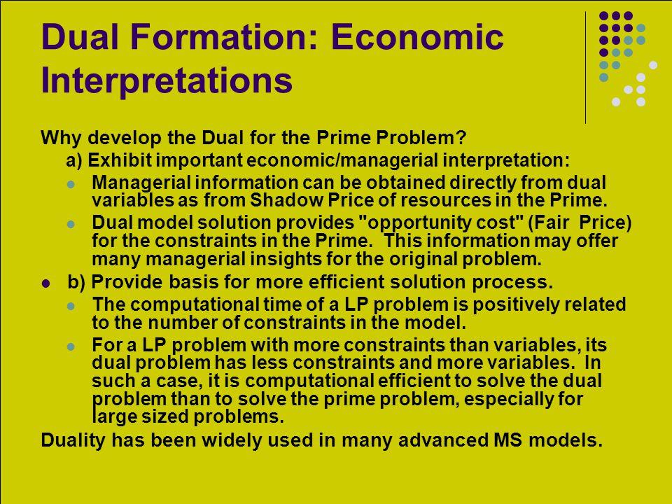 Dual Formation: Economic Interpretations