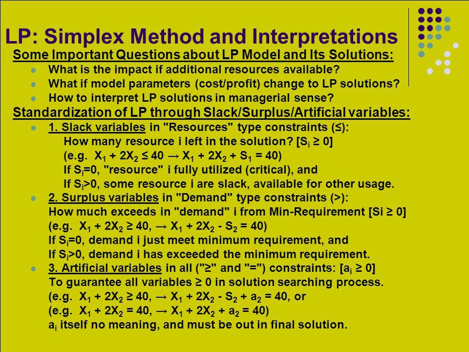 LP: Simplex Method and Interpretations