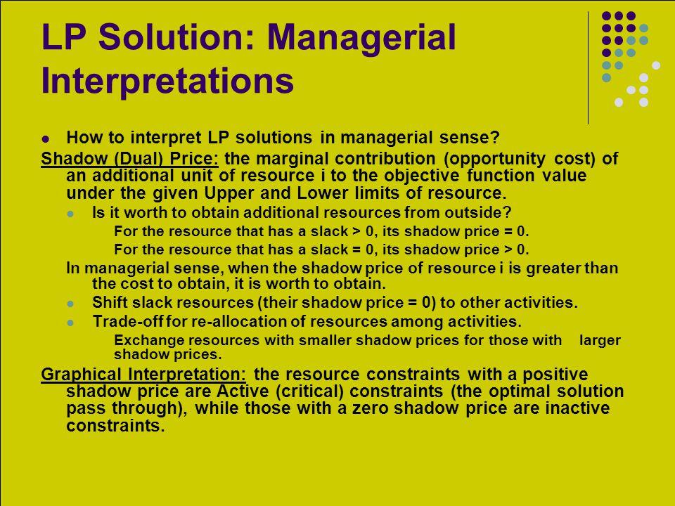 LP Solution: Managerial Interpretations