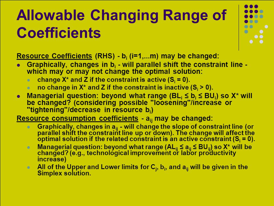 Allowable Changing Range of Coefficients