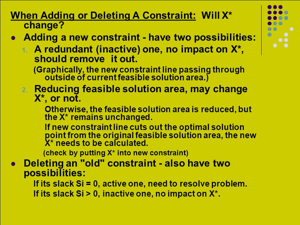When Adding or Deleting A Constraint: Will X* change