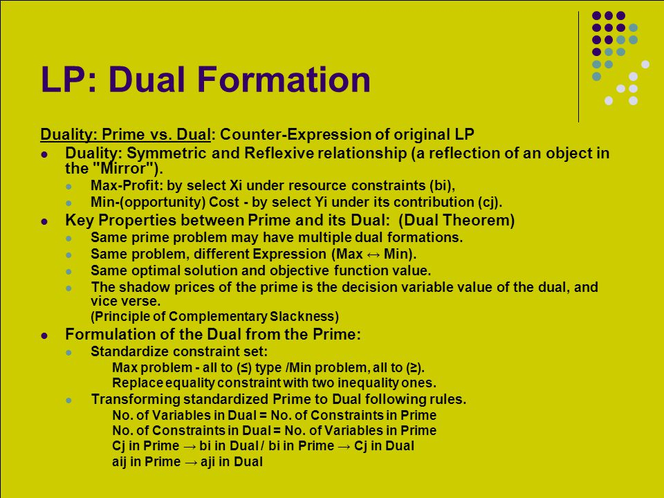 LP: Dual Formation Duality: Prime vs. Dual: Counter-Expression of original LP.