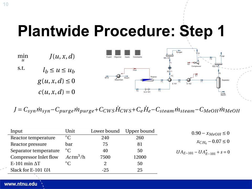 Plantwide Procedure: Step 1