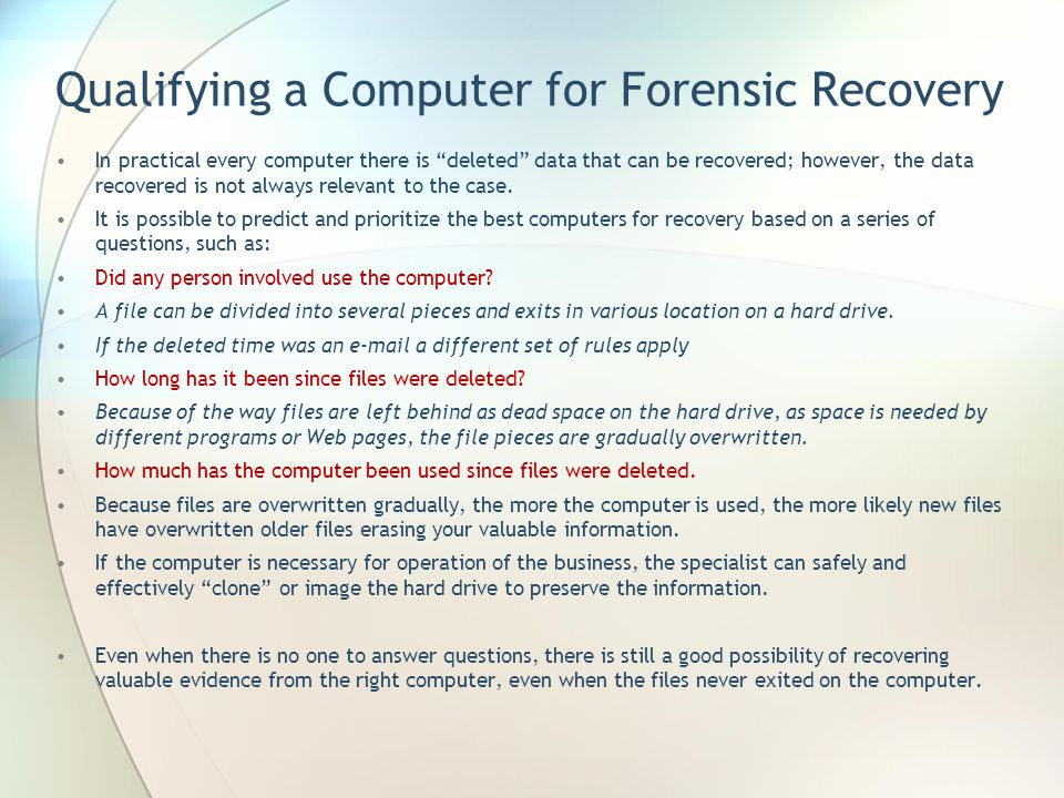 Qualifying a Computer for Forensic Recovery