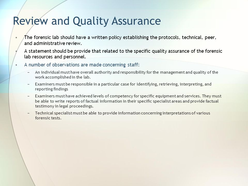 Review and Quality Assurance