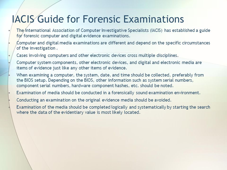 IACIS Guide for Forensic Examinations