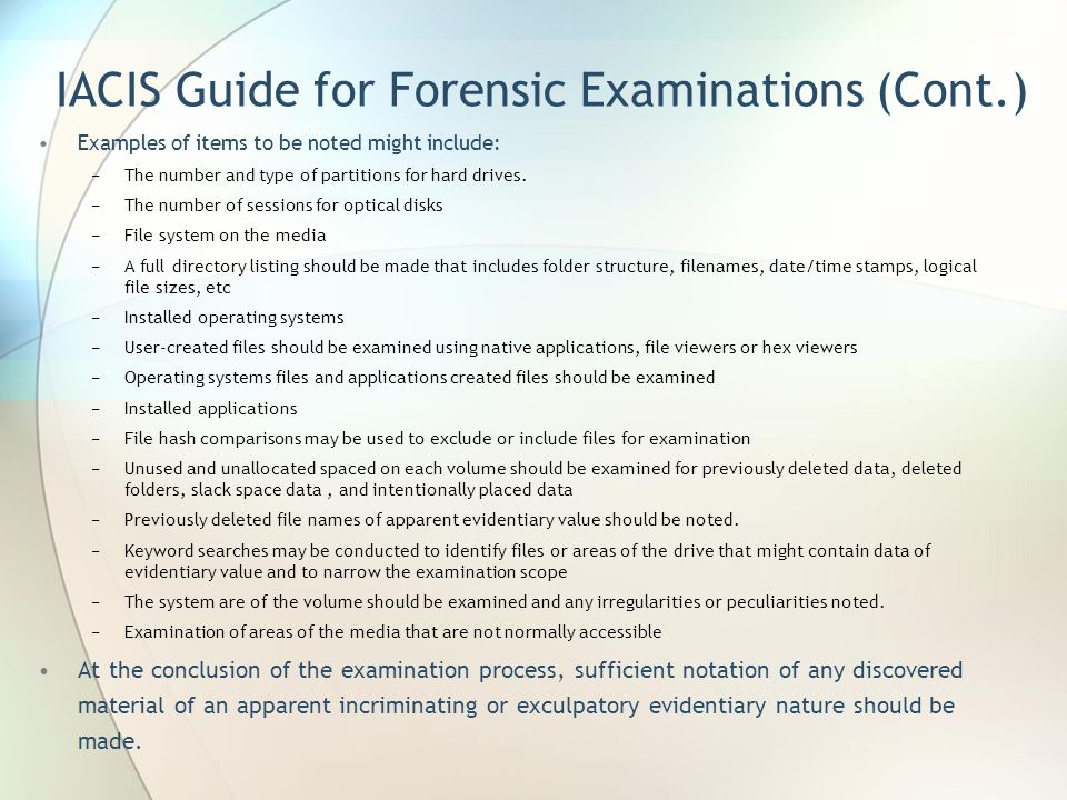 IACIS Guide for Forensic Examinations (Cont.)