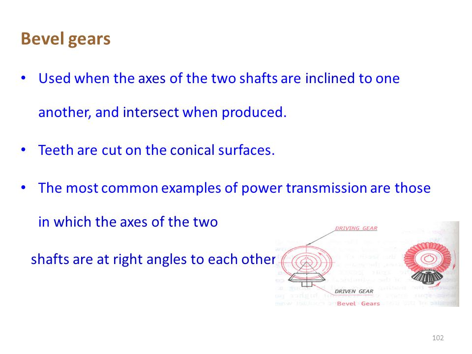 Bevel gears Used when the axes of the two shafts are inclined to one another, and intersect when produced.