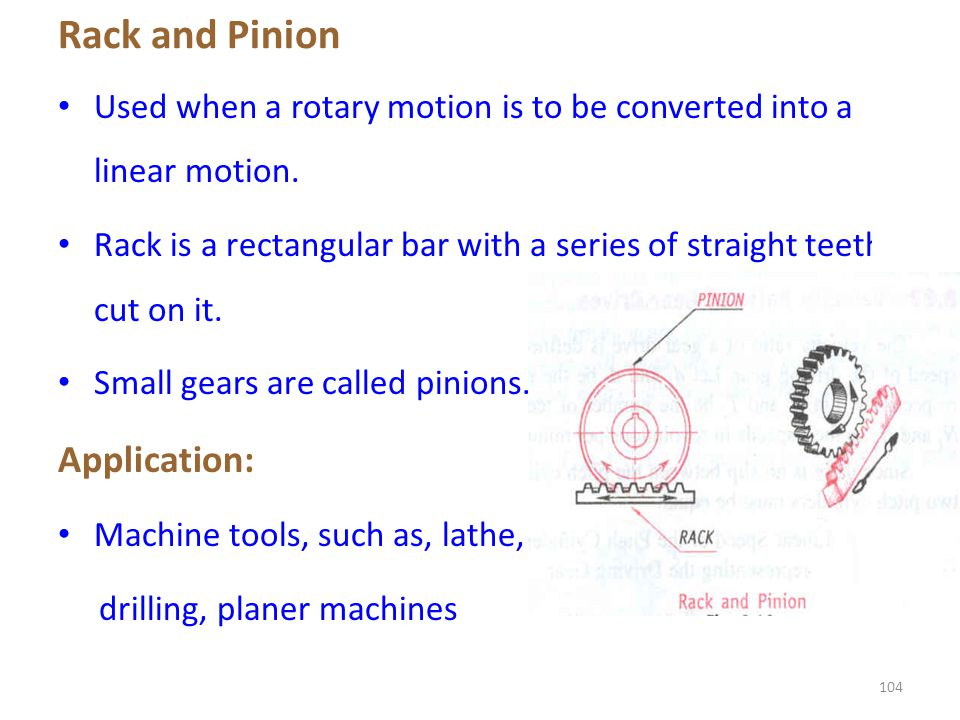 Rack and Pinion Application: