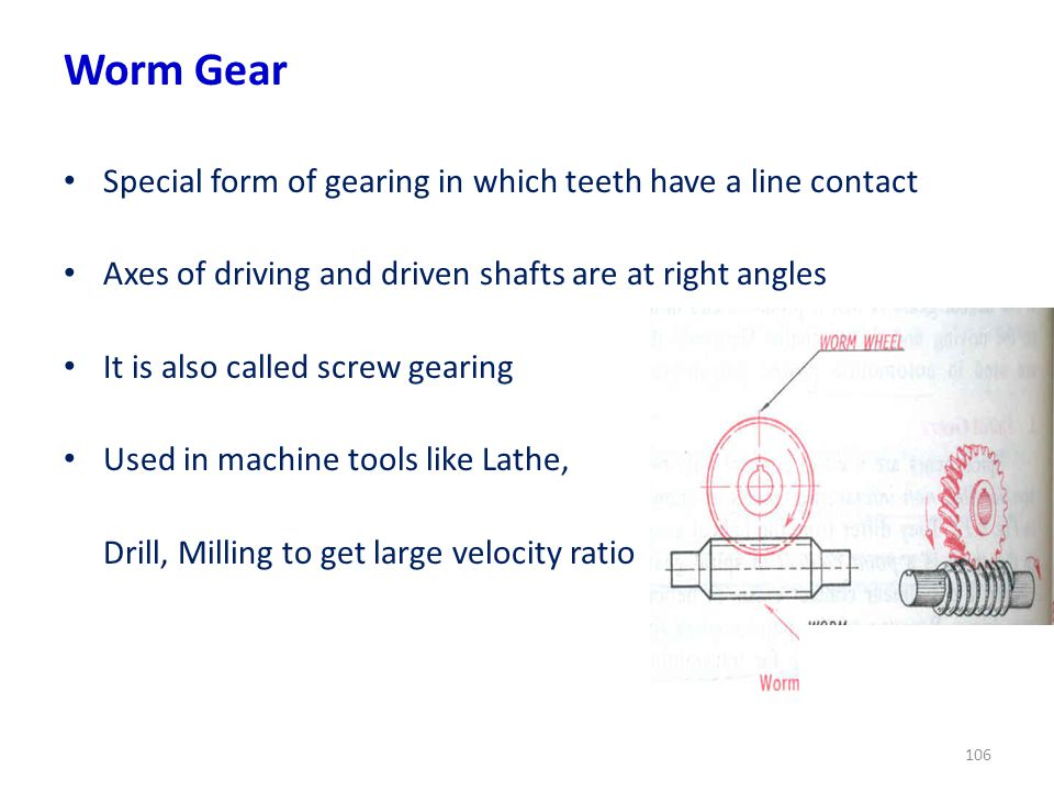 Worm Gear Special form of gearing in which teeth have a line contact