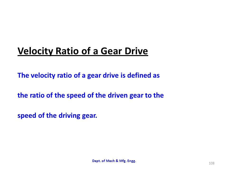 Velocity Ratio of a Gear Drive