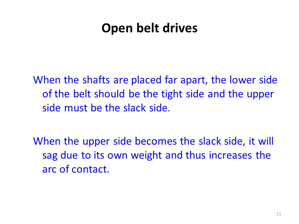 Open belt drives When the shafts are placed far apart, the lower side of the belt should be the tight side and the upper side must be the slack side.