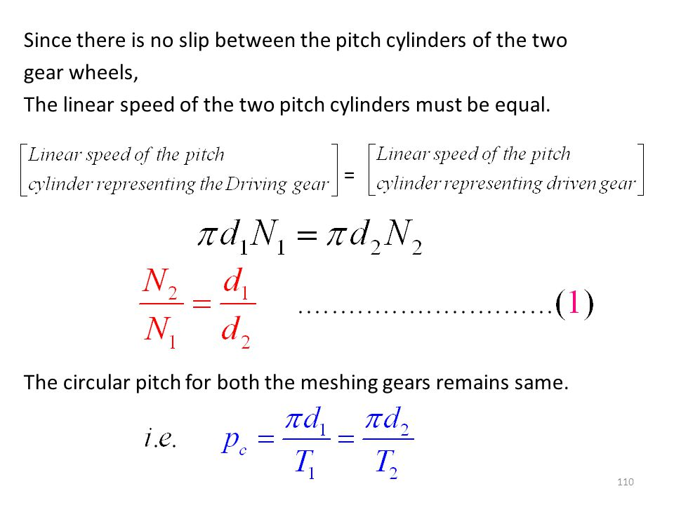 Since there is no slip between the pitch cylinders of the two