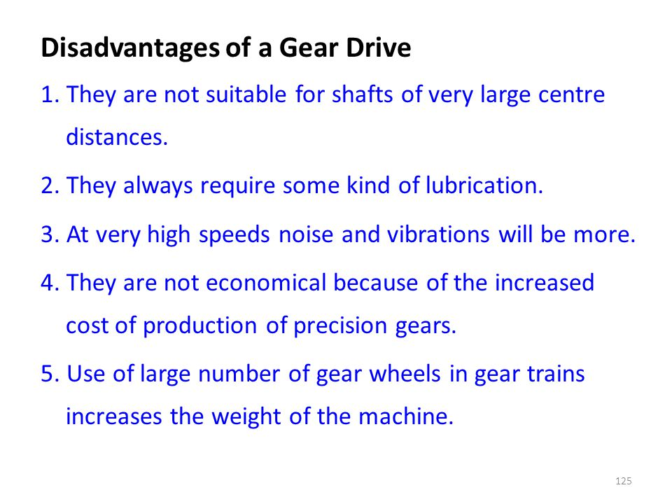 Disadvantages of a Gear Drive