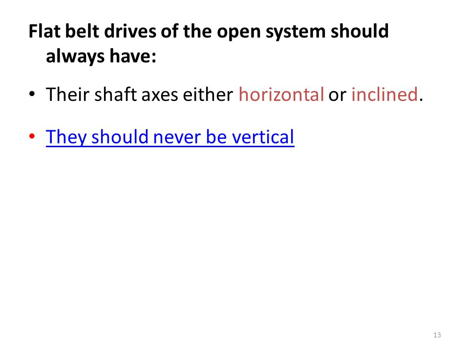 Flat belt drives of the open system should always have: