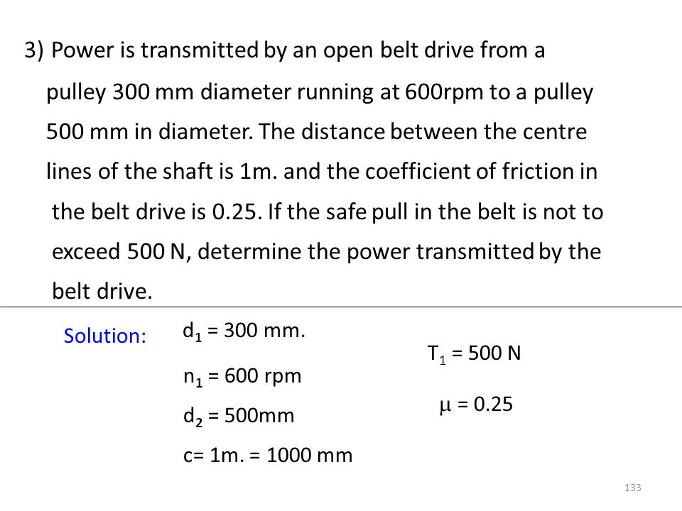 3) Power is transmitted by an open belt drive from a