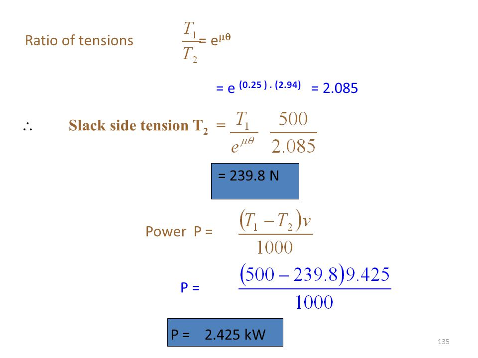 Ratio of tensions = e = e (0.25 ) . (2.94) = 2.085