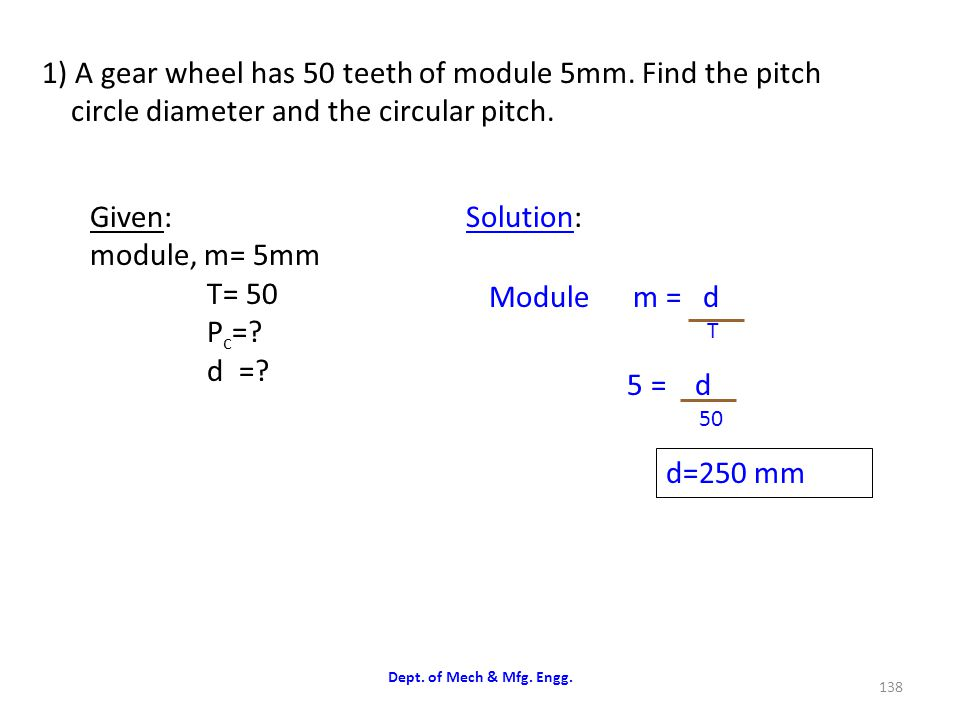 1) A gear wheel has 50 teeth of module 5mm. Find the pitch