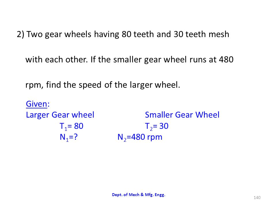 2) Two gear wheels having 80 teeth and 30 teeth mesh