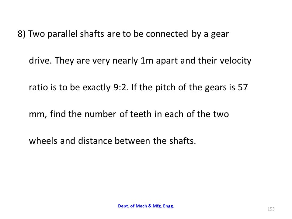 8) Two parallel shafts are to be connected by a gear