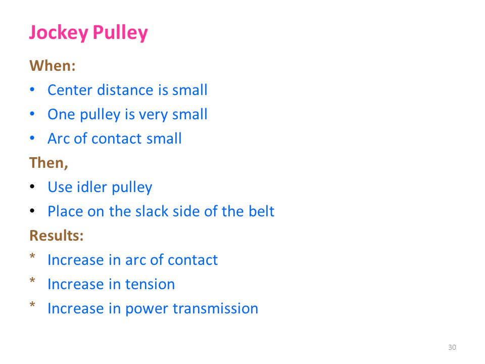 Jockey Pulley When: Center distance is small One pulley is very small