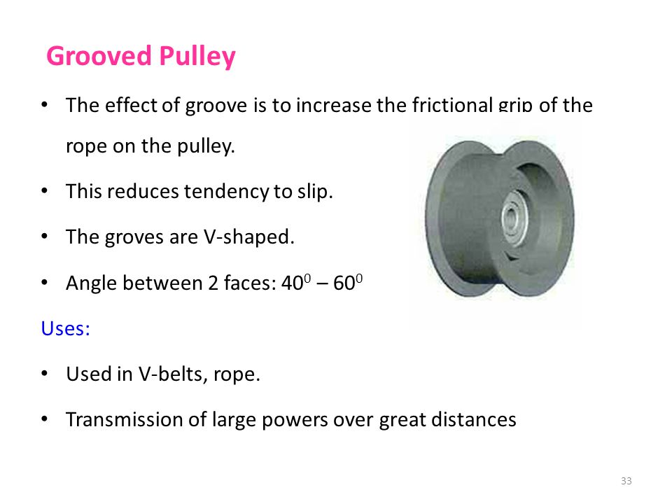 Grooved Pulley The effect of groove is to increase the frictional grip of the rope on the pulley. This reduces tendency to slip.