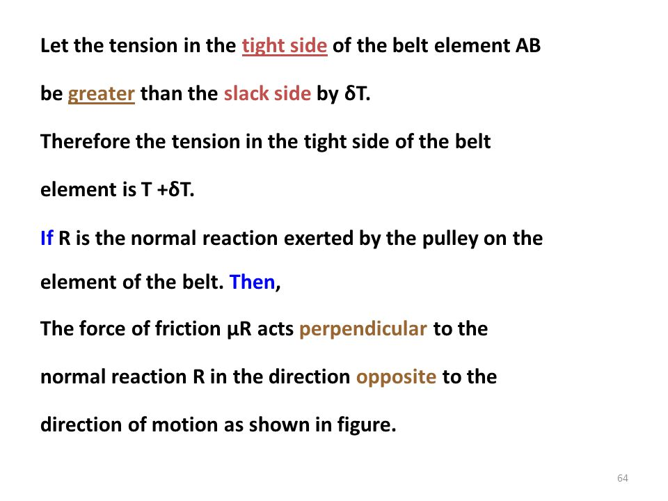Let the tension in the tight side of the belt element AB