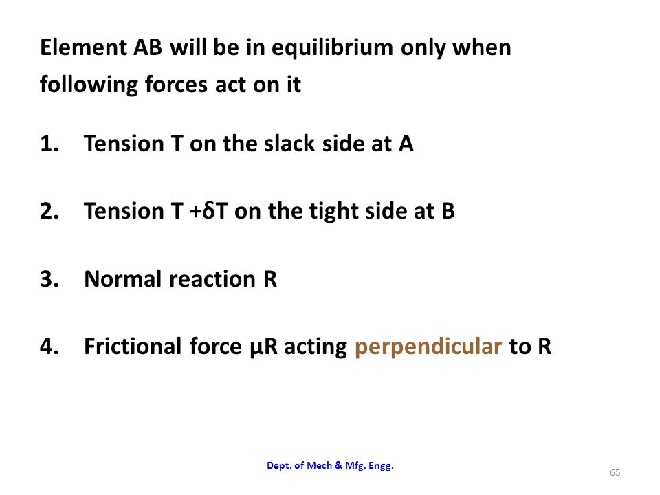 Element AB will be in equilibrium only when following forces act on it