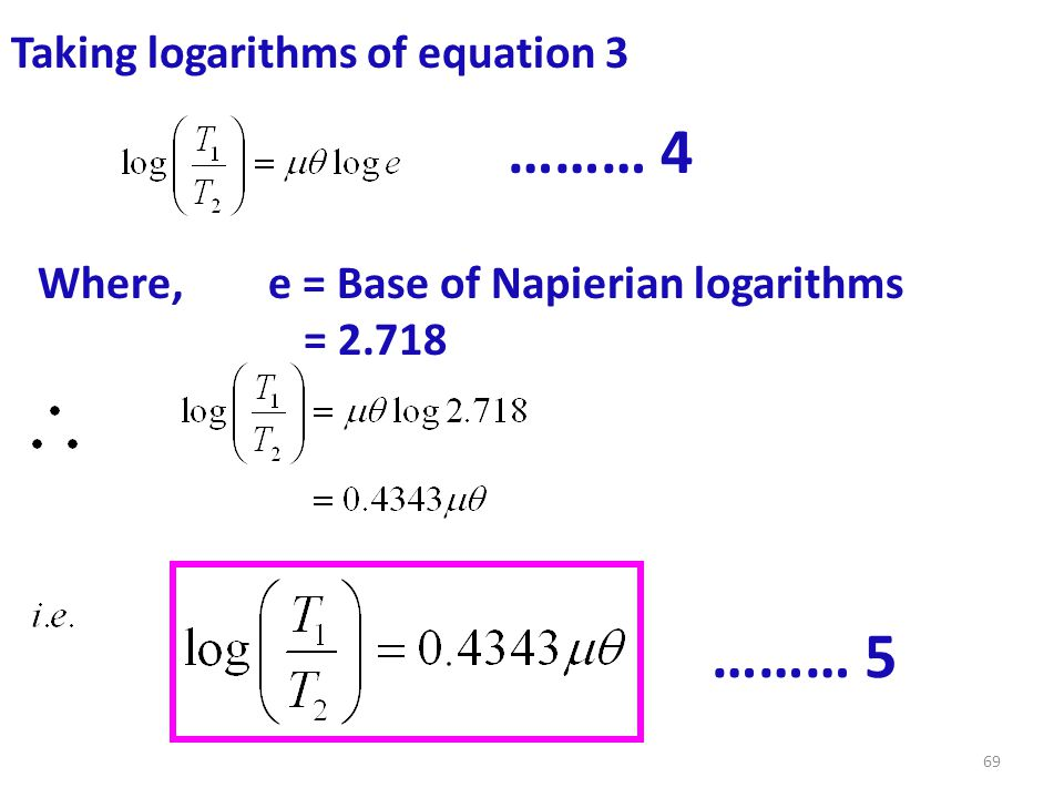 ……… 4 ……… 5 Taking logarithms of equation 3