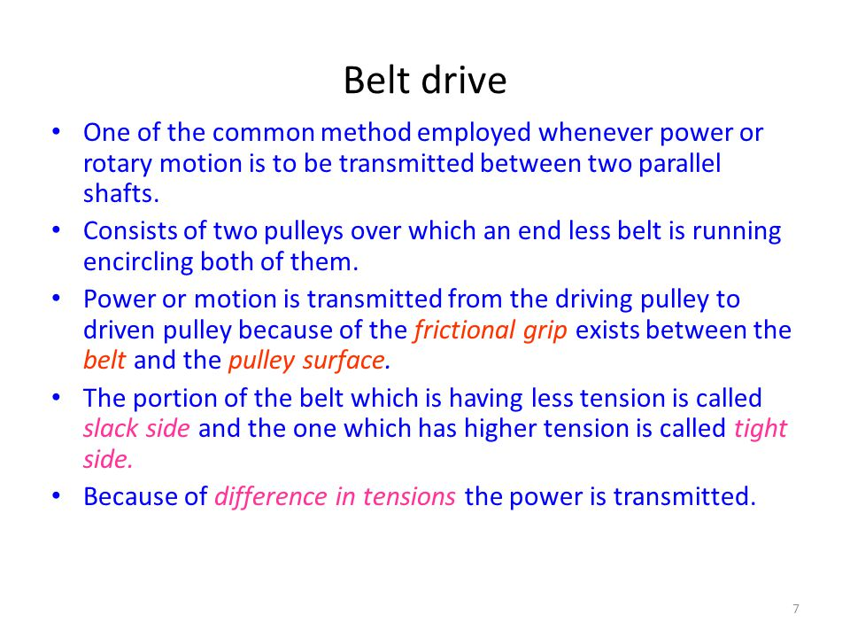 Belt drive One of the common method employed whenever power or rotary motion is to be transmitted between two parallel shafts.