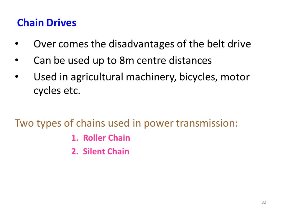 Over comes the disadvantages of the belt drive