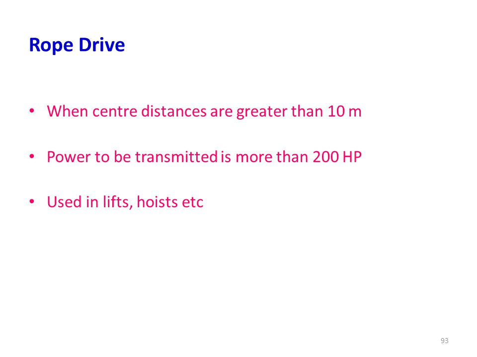 Rope Drive When centre distances are greater than 10 m