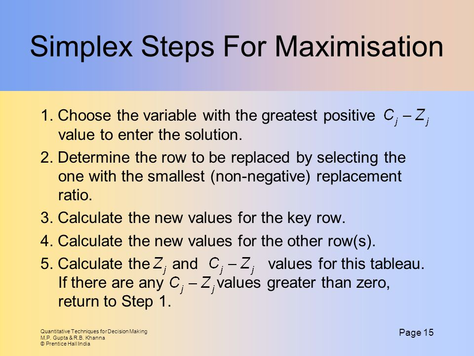 Simplex Steps For Maximisation