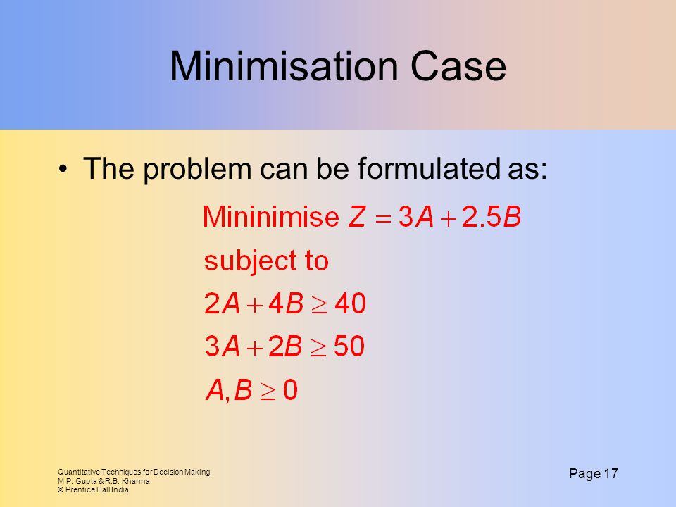 Minimisation Case The problem can be formulated as: