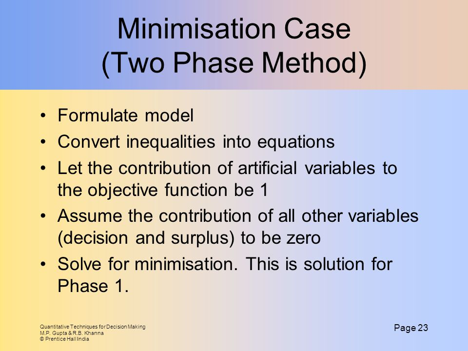 Minimisation Case (Two Phase Method)