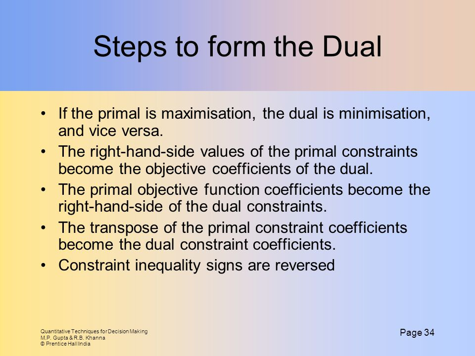 Steps to form the Dual If the primal is maximisation, the dual is minimisation, and vice versa.