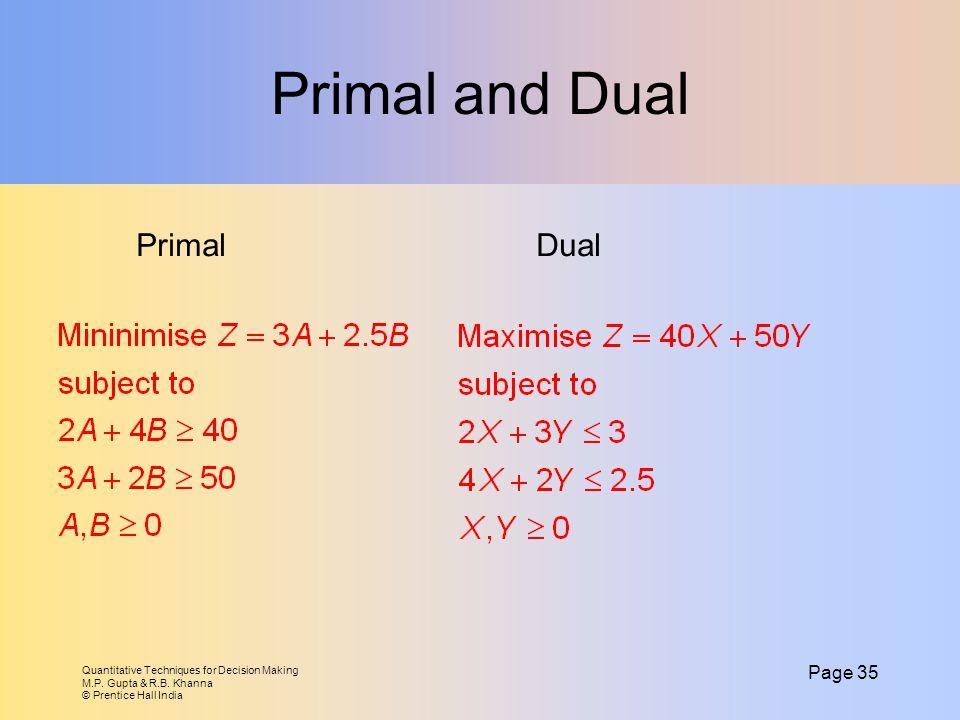 Primal and Dual Primal Dual