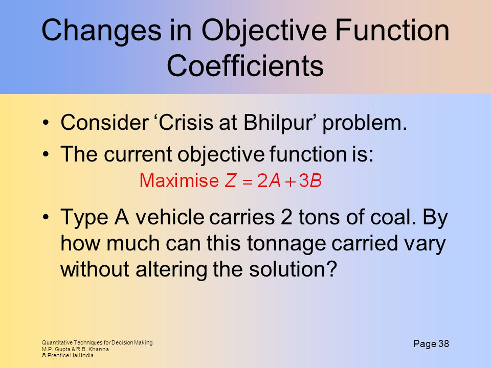 Changes in Objective Function Coefficients