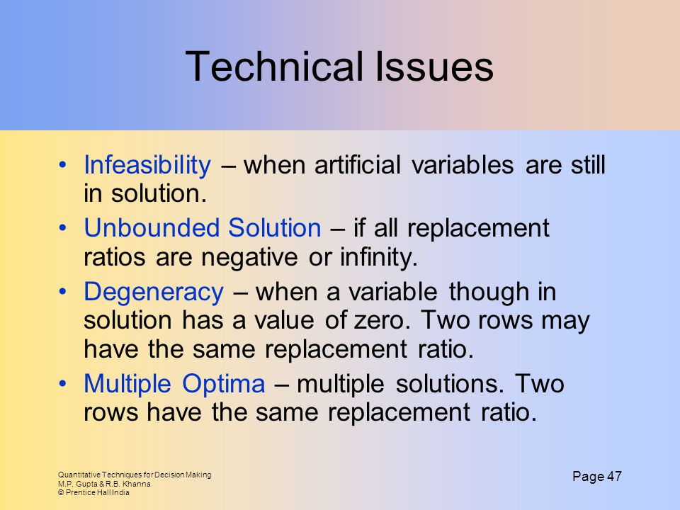 Technical Issues Infeasibility – when artificial variables are still in solution.