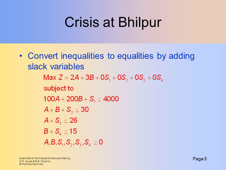 Crisis at Bhilpur Convert inequalities to equalities by adding slack variables