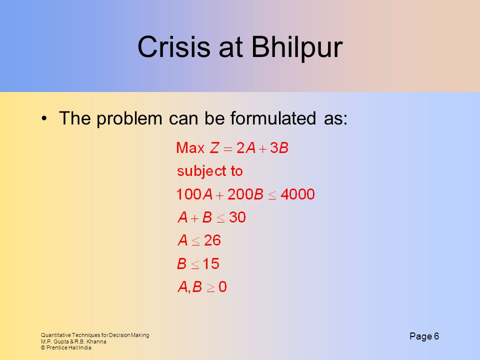 Crisis at Bhilpur The problem can be formulated as: