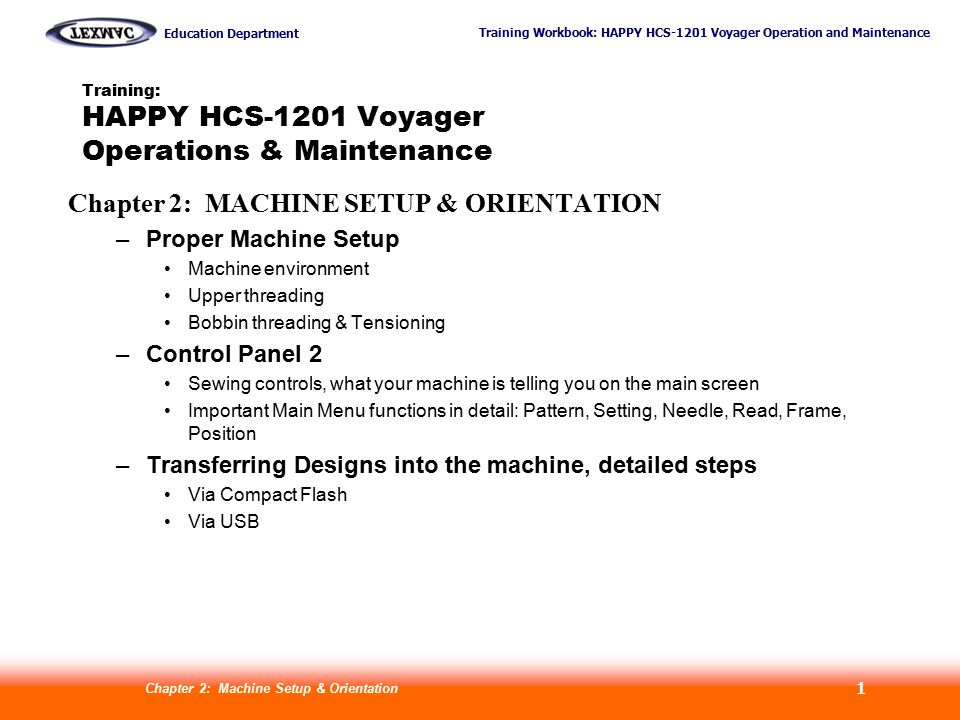 Training: HAPPY HCS-1201 Voyager Operations & Maintenance