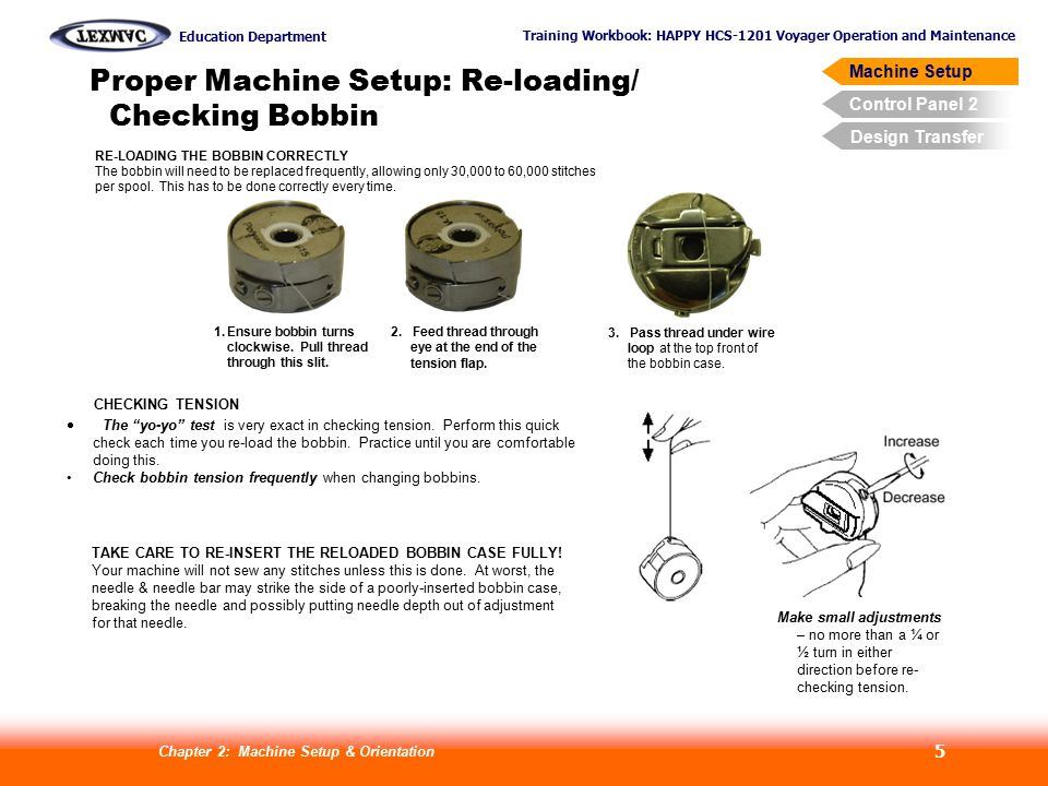 Proper Machine Setup: Re-loading/ Checking Bobbin