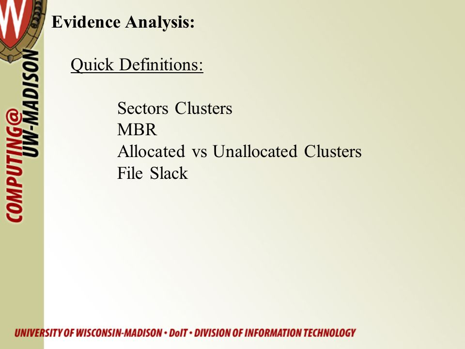 Evidence Analysis: Quick Definitions: Sectors Clusters.