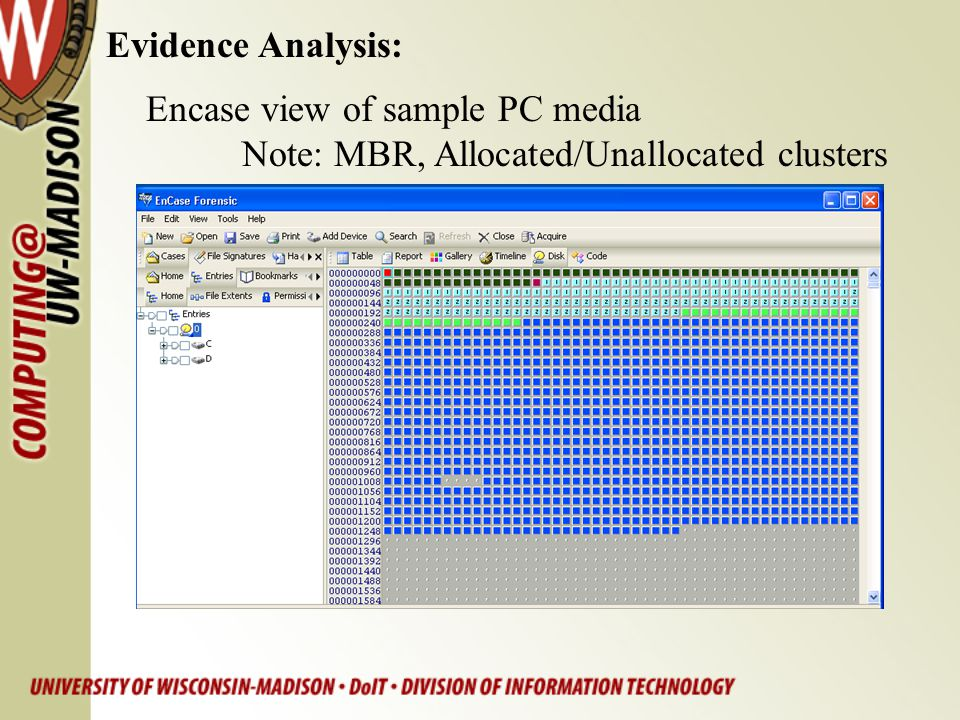 Evidence Analysis: Encase view of sample PC media Note: MBR, Allocated/Unallocated clusters